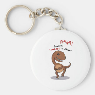 Raptor's need love too rawr Rawr, RAWR Basic Round Button Keychain