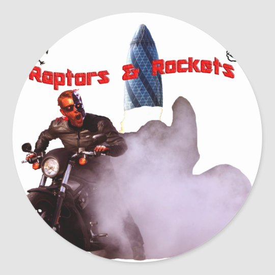 Raptors & Rockets Burnout Classic Round Sticker