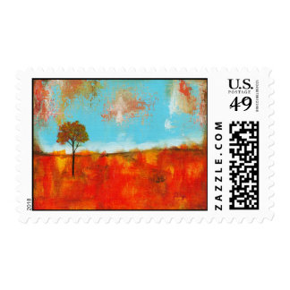Rapture Abstract Landscape Tree Art Painting Stamp