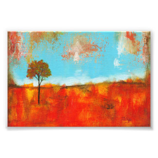 Rapture Abstract Red Tree Landscape Painting Photo Print