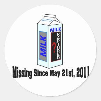 Rapture Missing Person Milk Carton Classic Round Sticker