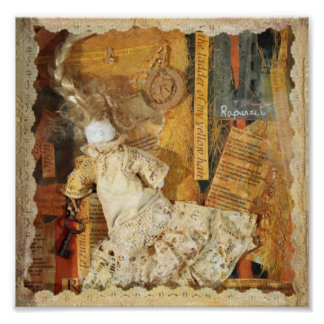 Rapunzel 1 original poetry and collage poster