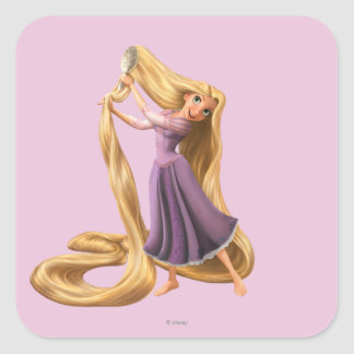 Rapunzel Brushing Hair 2 Square Sticker