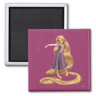 Rapunzel con la brocha 2 imán cuadrado