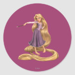 Rapunzel con la brocha 2 pegatinas redondas