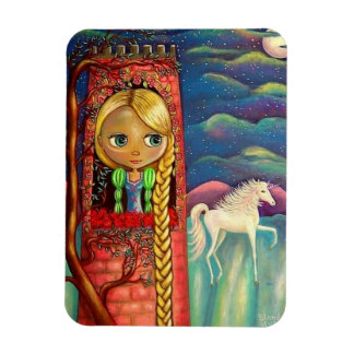 Rapunzel Doll in Pink Tower Unicorn Cute Magnet