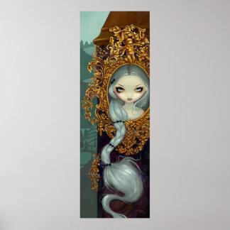 Rapunzel en la impresión gótica rococó del arte de posters