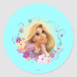 Rapunzel Flower Frame Round Sticker