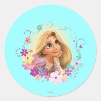 Rapunzel Flower Frame Round Sticker