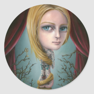 Rapunzel los pegatinas del chica del tatuaje etiqueta redonda