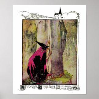 Rapunzel por la impresión de Anne Anderson Póster