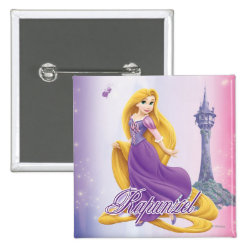 Square Button with Tangled's Rapunzel with Tower design
