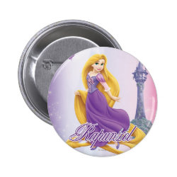 Round Button with Tangled's Rapunzel with Tower design
