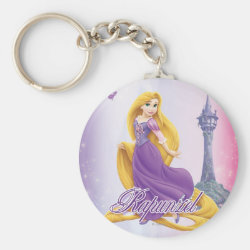Basic Button Keychain with Tangled's Rapunzel with Tower design