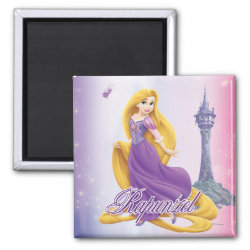 Square Magnet with Tangled's Rapunzel with Tower design