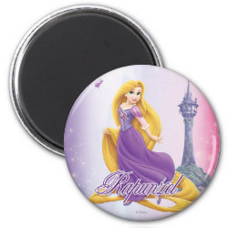 Round Magnet with Tangled's Rapunzel with Tower design