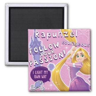 Rapunzel - siga su pasión imán cuadrado