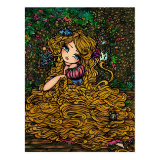 Rapunzel Storybook Princess Original Art Postcard