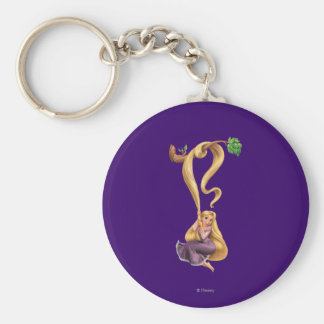 Rapunzel Swinging from Branch 2 Basic Round Button Keychain