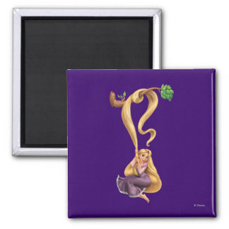 Rapunzel Swinging from Branch 2 2 Inch Square Magnet