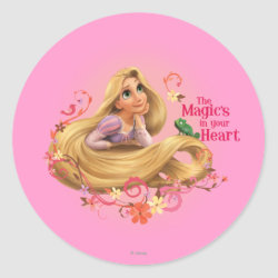 Round Sticker with Dreamy Rapunzel from Tangled design