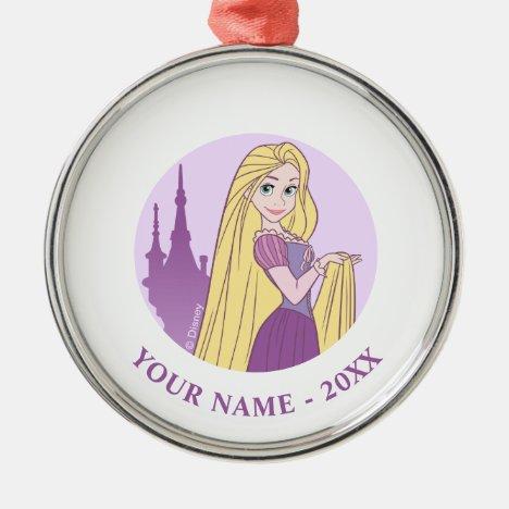 Rapunzel & Tower Graphic Metal Ornament
