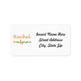 Raquel (mariposa anaranjada) etiquetas de dirección
