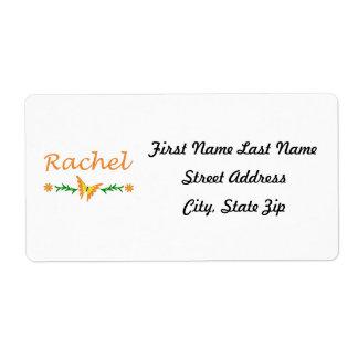 Raquel (mariposa anaranjada) etiquetas de envío
