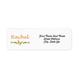 Raquel (mariposa anaranjada) etiquetas de remite