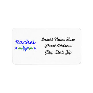 Raquel (mariposa azul) etiqueta de dirección