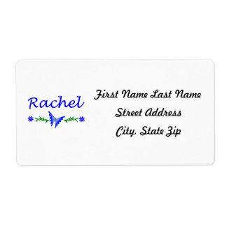 Raquel (mariposa azul) etiqueta de envío