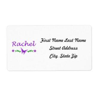 Raquel (mariposa púrpura) etiquetas de envío