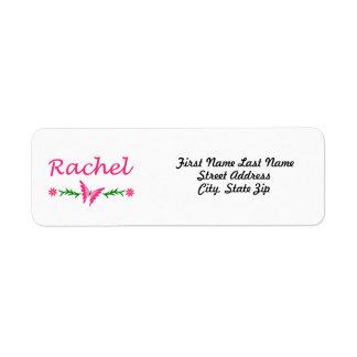 Raquel (mariposa rosada) etiqueta de remite