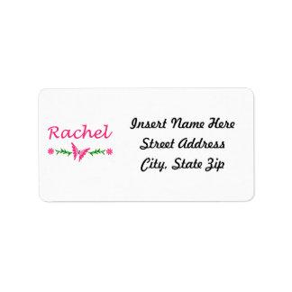 Raquel (mariposa rosada) etiquetas de dirección
