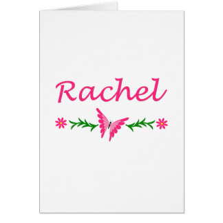 Raquel (mariposa rosada) tarjeta de felicitación