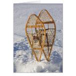 Raquetas en la tarjeta en blanco de la nieve