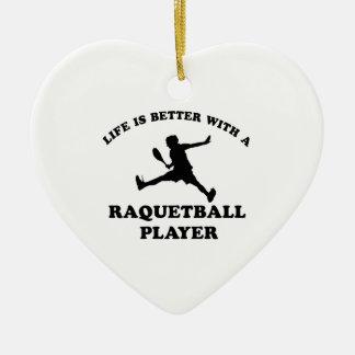 Raquetball Vector designs Christmas Ornaments