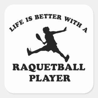 Raquetball Vector designs Square Sticker