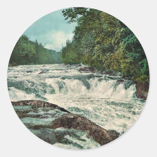 Raquette Falls, Adirondack Mountains rare Photochr Classic Round Sticker