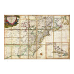 RARE 1779 Colonial America Map by Rene Phelippeaux Gallery Wrapped Canvas