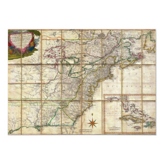 """RARE 1779 Colonial America Map by Rene Phelippeaux 5"""" X 7"""" Invitation Card"""