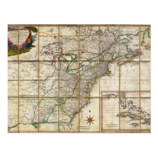 RARE 1779 Colonial America Map by Rene Phelippeaux Postcard