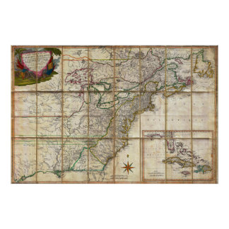 RARE 1779 Colonial America Map by Rene Phelippeaux Poster