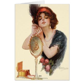 "RARE 1913!!! ""PLAY DRESS UP"" BEAUTY GREETING CARD"