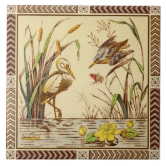 Rare Aesthetic Nature Pond Life 1880s Tile Repro