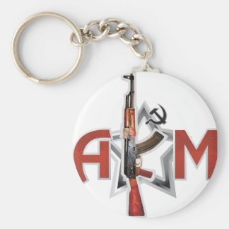 RARE AK-47 AKM ARMY KALASHNIKOV GUN MILITARY BASIC ROUND BUTTON KEYCHAIN