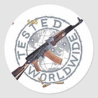 RARE AK-47 RUSSIAN ARMY KALASHNIKOV GUN MILITARY CLASSIC ROUND STICKER