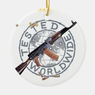 RARE AK-47 RUSSIAN ARMY KALASHNIKOV GUN MILITARY Double-Sided CERAMIC ROUND CHRISTMAS ORNAMENT