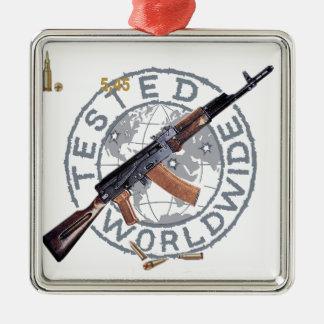 RARE AK-47 RUSSIAN ARMY KALASHNIKOV GUN MILITARY SQUARE METAL CHRISTMAS ORNAMENT
