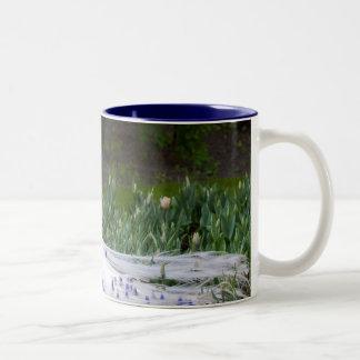 Rare Albino Peacock Design Two-Tone Coffee Mug